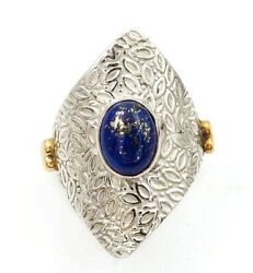 Two Tone- Natural Lapis Lazuli 925 Solid Sterling Silver Ring Jewelry Sz 7 C29-4
