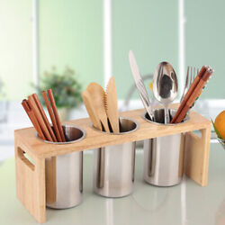 Stainless Steel Wooden Kitchen Cutlery Holder and Utensil Container Pot Chip US