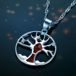 New Hollow Tree of Life red imitation Opal Gemstone Silver Jewelry Necklace