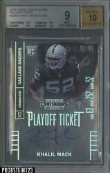 2014 Panini Contenders Playoff Ticket Khalil Mack RC Rookie 99 BGS 9 w 10 AUTO
