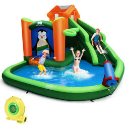 Inflatable Water Park Slide Bouncer w Splash Water Cannon & 680W Blower Funny
