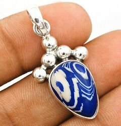 Natural Azurite 925 Solid Sterling Silver Pendant Jewelry C32-2