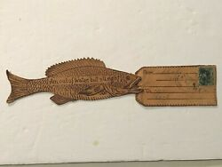 1906 White Mills Pa. Wayne County FISH Figure Leather Postcard Posted Tag