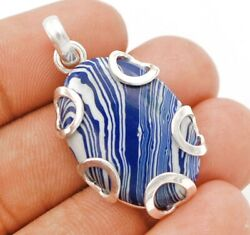 Natural Azurite 925 Solid Sterling Silver Pendant Jewelry C33-9