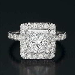 3 ct Diamond Engagement Ring Solitaire With Accents 14K White Gold