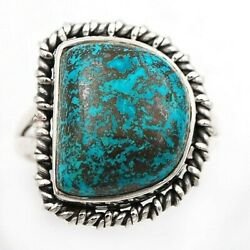 Unique Fineart Azurite 925 Solid Sterling Silver Ring Jewelry Sz 9  C21-7
