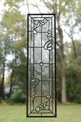 10quot; x 36quot; Stunning Handcrafted stained glass Clear Beveled window panel $179.99