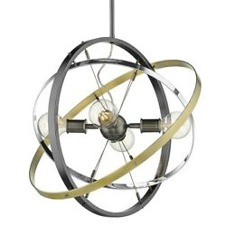 Golden Lighting Atom 4 Light Chandelier Steel Chrome Brass 7936 4BS CH AB $204.99