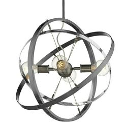Golden Lighting Atom 4 Light Chandelier Steel Chrome Steel 7936 4BS CH BS $204.99