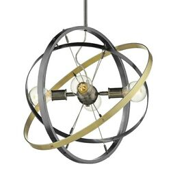 Golden Lighting Atom 4 Light Chandelier Steel Steel Brass 7936 4BS BS AB $204.99