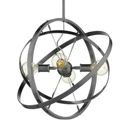 Golden Lighting Atom 4 Light Chandelier Steel Steel Steel 7936 4BS BS BS $204.99