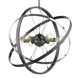 Golden Lighting Atom 6 Light Chandelier Steel Chrome Steel 7936 6BS CH BS $254.99