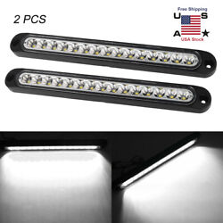 2PCS 10 inch 15LED white Strobe Rear Stop Tail Light Lamp Turn Signal Light Bar $22.99