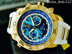Invicta Men's 50mm Aviator GMT World Dual Time Zone Blue Dial 18K Gold IP Watch
