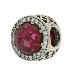 NEW Authentic Pandora Radiant Hearts Charm Sterling CZs Cerise Crystal 791725NCC