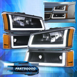 For 03-07 Chevy Silverado LED DRL Black Housing Amber Headlights + Bumper Lamps $203.99
