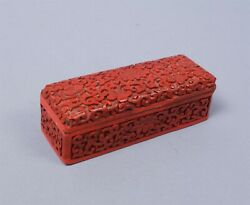 Antique At Least Early 20c Carved Asian Cinnabar Lacquer Stamp Box $119.98