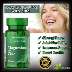 Magnesium with Zinc Bone Muscle Cramps Energy Immunity Supplement 100 Tablets $13.59