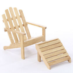 Oak Wood Adirondack Chair and Ottoman for Fairy Gardens Craft Displays
