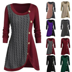 Plus Size Womens Jumper Sweater Long Sleeve Pullover T-shirt Button Tunic Top US