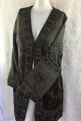 Parsley & Sage Size Small Tunic Top Woven Wool Textured * Multi Color Browns