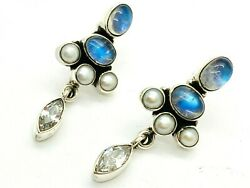 Nicky Butler India Sterling Multi-Stone and Mabe Earrings