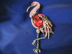 BEAUTIFUL VINTAGE-LIKE FLAMINGO BROOCH PIN LOTS OF RHINESTONES GORGEOUS NEW