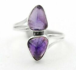 Natural Chevron Amethyst 925 Sterling Silver Ring Jewelry Sz 8 H4-2