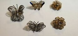 (5)Vintage Filigree Sterling .800 silver Enamel Butterfly & Floral Pins Lot(AE)