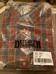 Duluth Women's Free Swinging Flannel Shirt Size Small Brown Teal Plaid