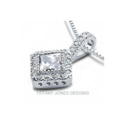 1.48 CT F-SI1 Princess Cut Earth Mined Certified Diamonds 14k Gold Halo Pendant