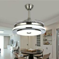 Modern 36quot; Invisible Ceiling Fans with 3 Color LED Light Fan Chandelierremote $138.59