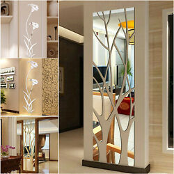 3D Mirror Tree Art Removable Wall Sticker Acrylic Mural Decal Home Room Decor $8.48