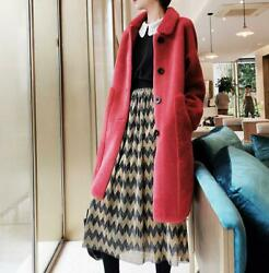 Women Real Wool Shearling Lamb Fur Outwear Winter Jacket Cashmere Thick Coat New