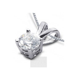 2 12ct G SI2 Round Natural Certified Diamond 950 PL. Classic Solitaire Pendant