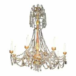 Huge Therien 19th C Style Italian Crystal & Gilt-wood Chandelier