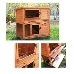 "83"" Rabbit Hutch Extra Large Wooden Chicken Coop Waterproof Roof Running Cage"