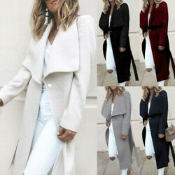 USA Womens Winter Lapel Button Long Trench Coat Jacket Ladies Overcoat Outwear