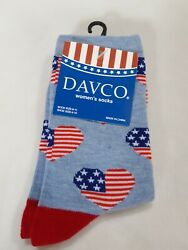 Davco Womens Socks light blue with American flag hearts stars and stripes $6.99