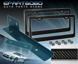 Carbon Fiber License Plate Tag Frame Set + Blue Relocator Bracket Adapter Jdm