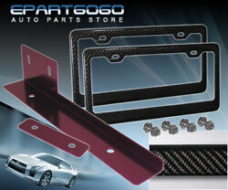 Us Canada License Plate Frame Carbon Fiber + Purple Relocator Bracket Jdm Set