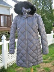 Womens Kenneth Cole Reaction Diamond Quilted Down Hooded Coat Parka GREY LARGE.
