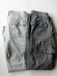 (2) Vintage 90's Men's Levi's Loose Straight Cargo Pants Size 32x34