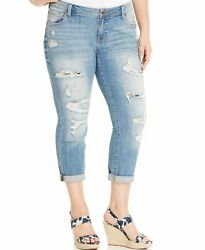 Lucky Brand Womens Blue Size 24W Plus Distressed Cropped Stretch $99 391