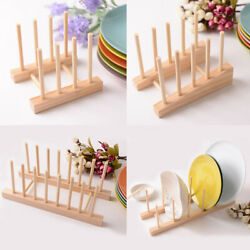 Wooden Dish Rack Kitchen Drying Holder Drainer Plate Cup Stand Easy to assemble
