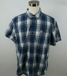 Carhartt Mens Cotton Relaxed Fit SS Button Down Blue Yellow Plaid Shirt Size 2XL