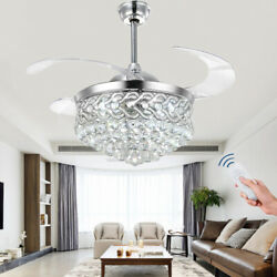 42quot;Remote Retractable Blade LED Light Chandelier Silver Crystal Ceiling Fan Lamp $175.49