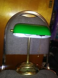 Vintage antique Bankers Desk Table Lamp Green Glass Retro Brass Works