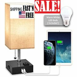 USB Bedside Table LampNightstand Lamp with Dual Charging PortsLED Desk Lamps
