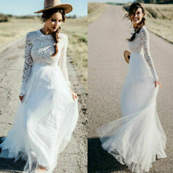 Boho Bridal Gown Lace Top Tulle Wedding Dresses Long Sleeve Women Vacation wear